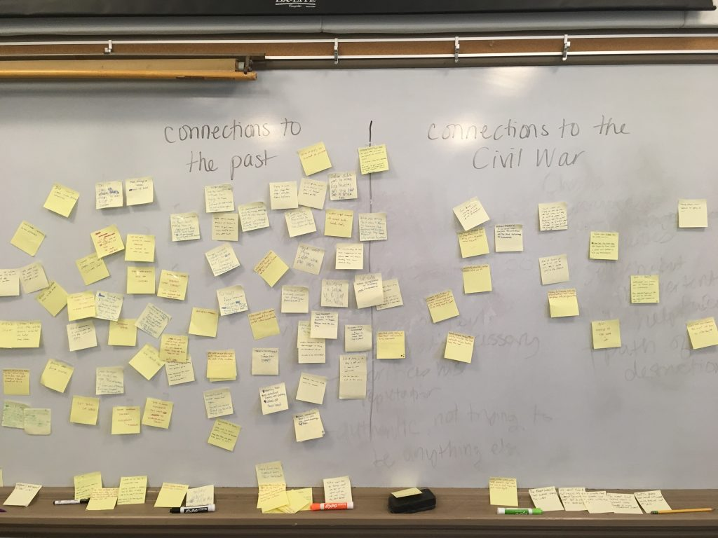 "a photo of a white board with two areas, one named ""connections to the past' and one named 'connections to the Civil War'"