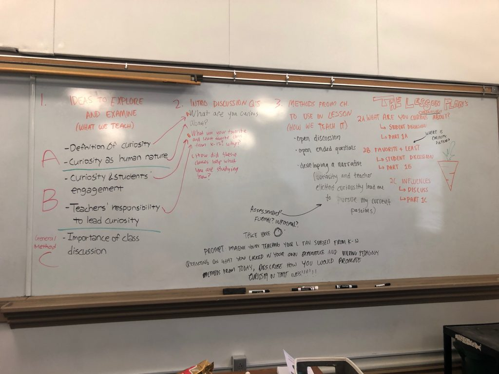 a lesson plan on a whiteboard