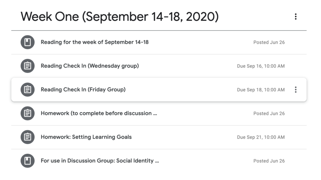 A schedule for week one of my fall course