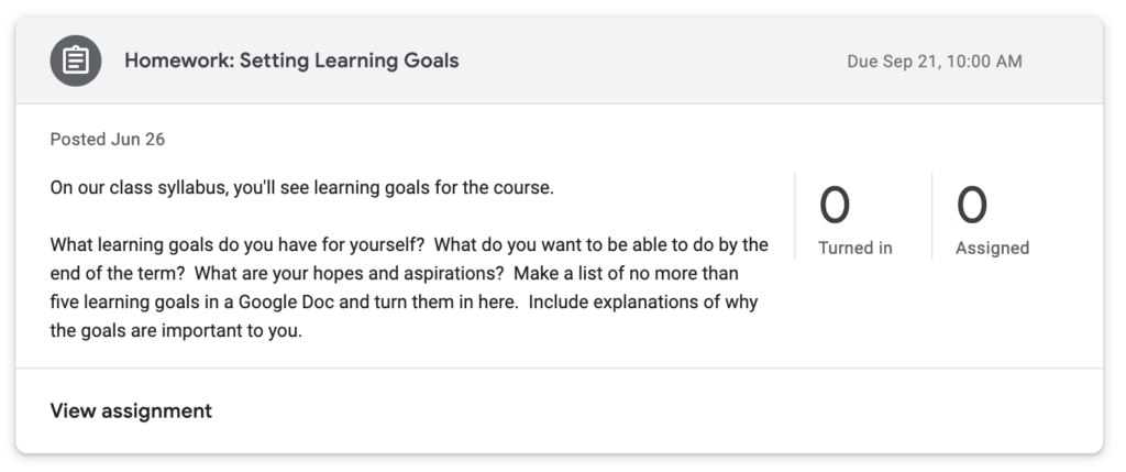 A screenshot of an assignment that asks students to set their own learning goals for the term